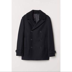 H&M Premium Pea Coat Double Breasted Wool Black